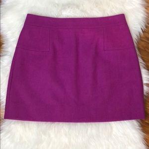 J. Crew Wool Fuchsia Mini Skirt